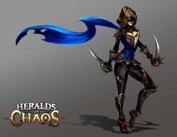 Assassin lady from Heralds of Chaos, a strategy turn based card game. It was fun to work on character design, I've always wanted to do character design but somehow never get around to drawing them.  Check out the game!