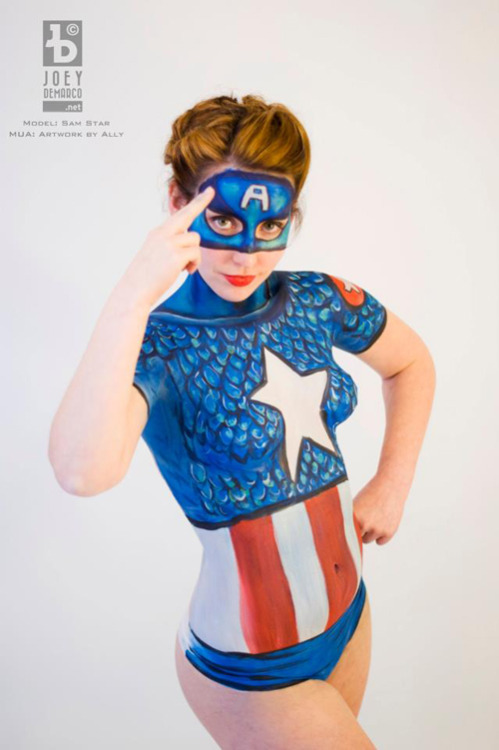 nerdybodypaint:  Captain America Body Paint