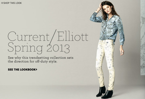 Current/Elliott Spring 2013 lookbook featuring Ruby Aldridge on Bop. Pinned.