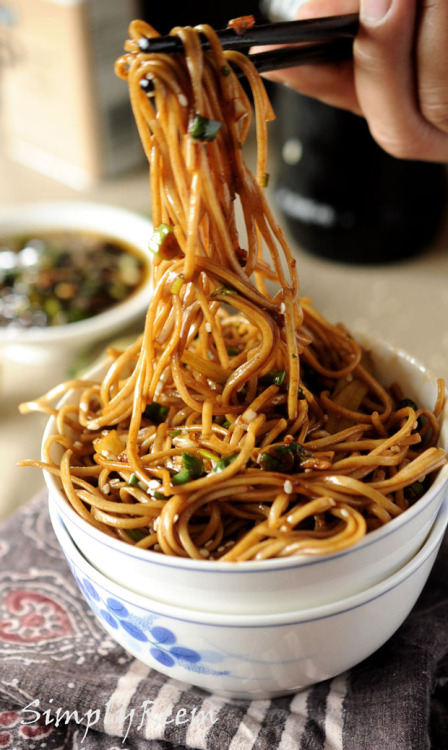veganfoody: Soba Noodles with Sweet Ginger Scallion SauceCourtesy of Simply Reem Soba noodles – 1 9oz packet. Salt and Pepper as per taste. Sesame seeds – 2 Tbsp lightly toasted. Cucumber thinly julienne optional. Lime wedges optional. For Sweet Ginger Scallion Sauce- Scallions – 1 ½ cup finely chopped. Ginger – 2 Tbsp minced. Cilantro – ¼ cup chopped. Sesame oil/ grape seed oil/ any neutral oil – 2-3 Tbsp. Chili oil – 2 tsp. Soy sauce – 1Tbsp. Rice wine vinegar – 2 Tbsp. Honey – 2 Tbsp. Salt – 1 tsp, as soy sauce is salty too so be careful with the salt. Black pepper – 1 tsp Instructions Mix all the ingredients for Sweet Ginger Scallion sauce in the bowl, check for the seasoning. Keep it aside for 10 -15 minutes for the flavors to develop. Boil the soba noodles as per the instruction on the package, If you need them cold drain well with the cold water once they are cooked or just drain the water in which they boiled if you like them hot. Add the sauce, sesame seeds and toss the noodles well, check for the seasoning one last time. Sprinkle lime juice if you like and also if you like add some julienne cucumber, give a final toss and Enjoy!   Approximate Nutritional Values: http://www.food.com/recipe/soba-noodles-with-sweet-ginger-scallion-sauce-475335