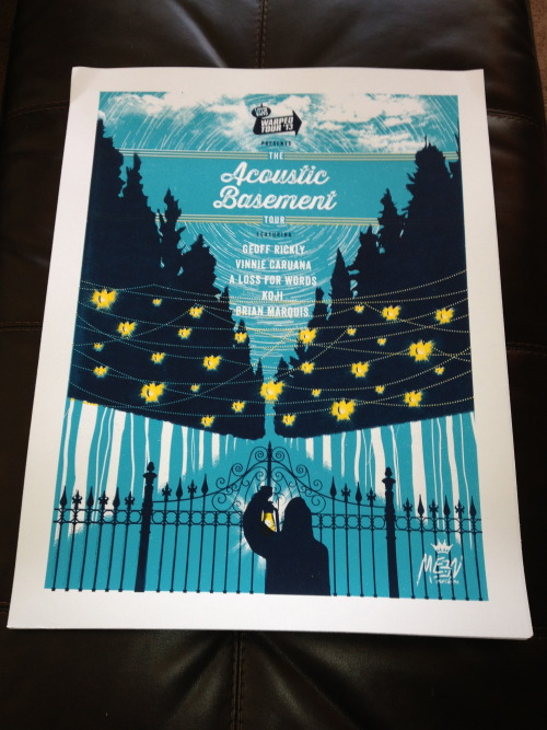 "A few limited silk screened posters left from the Acoustic Basement Tour are on sale here http://bit.ly/Xg19FP Printed by Meen MachineLimited Edition of 160 20 5/8"" wide x 26 3/4"" tall"