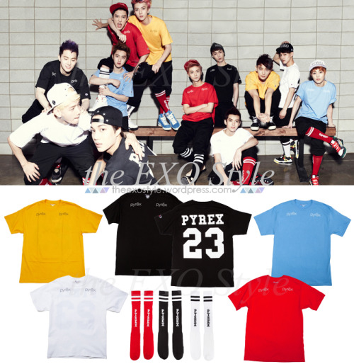 theexostyle:  EXO wearing PYREX VISION's latest SS 2013 Collection, 'Youth Always Win'. [Style I.D.] EXO - PYREX VISION As seen for 'XOXO (Kiss&Hug)' Teasers 4 & 5 Pyrex Basic Tee in Gold, White, Black, Red & Light Blue and Pyrex Socks in Red, Black & White | Shop: RSVP Gallery | DO NOT EDIT
