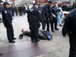 "anarcho-queer:   NYPD Arrests Homeless Man And Puts Him In Body Bag Thursday (December 20) afternoon in midtown New York City (57th street and 10th avenue) a handful of NYPD thugs stood around waiting for an ambulance to pick up a man they had arrested and then put into a bodybag. The bag covered the man´s entire body, except for his boots. The man could be heard saying to the officers, ""You´ve had me on the ground for an hour! I can´t get transported or nothing!? when you take this off my eyes, I´m taking everybody´s names and numbers!"" In response, the officers just stood around laughing because they know, just as well as we all do, that NYPD officers can get away with almost any kind of mental, verbal, or physical abuse and violence against those they arrest. When the ambulance finally arrived, the officers picked up the man, still in the bag, and roughly put him onto a stretcher. The ambulance took him away. It is thought that the man might be one of the neighborhood´s homeless people who often sit in front of stores in the area. It is not known by us what the situation was that led up to the arrest, or why the officers put the man into the bag. The fact that he was sent away in an ambulance, and not in a police car, is indicative that the man had health problems. Related: Oakland Police hogties woman, puts a bag over her face and strap her to a stretcher"
