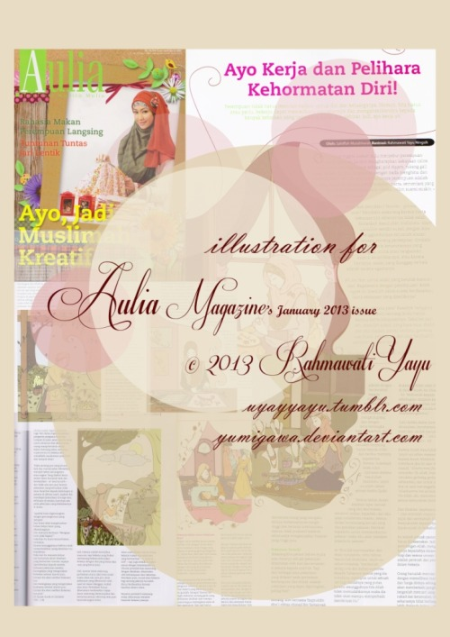 Six Illustrations for Aulia Magazine's January 2013 Issue (Women's Daily Activities) © 2013 Rahmawati Yayu uyayyayu.tumblr.com yumigawa.deviantart.com