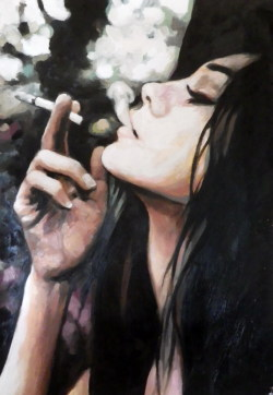 thomassaliot:  Smoking Profile Oil on canvas 90/140cm