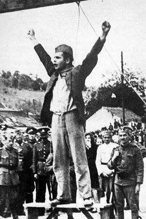 "fuckyeahmarxismleninism:  Today in history: May 22, 1942 - Stjepan Filipović, a Croatian Partisan during World War II, was hanged by the fascists. As the rope was put around his neck, Filipović defiantly thrust his hands out and denounced the Germans and their Axis allies as murderers, shouting ""Death to fascism, freedom to the people!"" He urged the Yugoslav people to resist and implored them to never cease resisting. Filipović joined the workers' movement in 1937, was arrested in 1939 and was sentenced to a year in prison. He joined the Communist Party of Yugoslavia in 1940 and was commander of a Partisans' unit by 1941. He was captured on February 24, 1942 by Axis forces and hanged on May, 22, 1942.  (image: famous photograph of Filipović with his arms in the air, moments before his death) Via Freedom Road Socialist Organization (Fight Back!)"