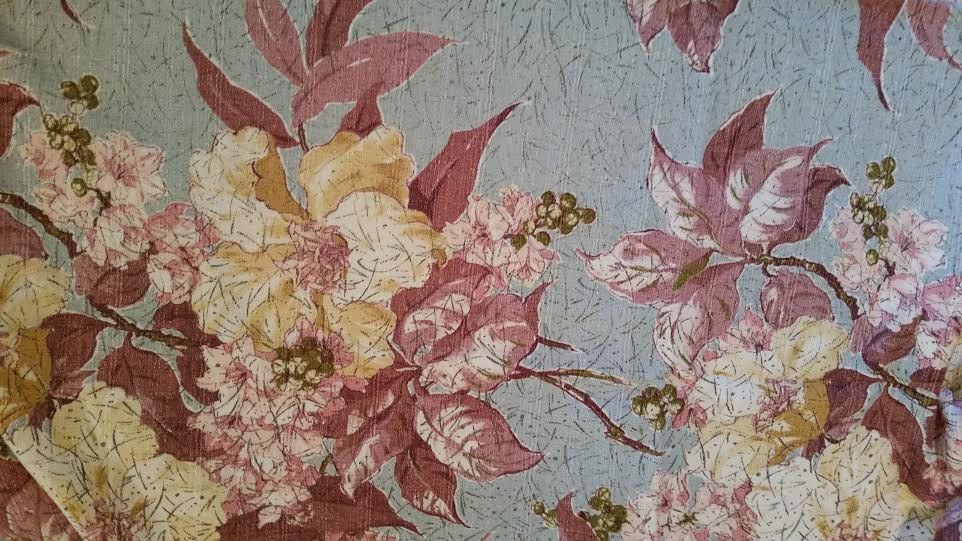 3 Vintage BARKCLOTH Fabric Panels Mid Century Modern EAMES 1940s 1950s Cottage Flowers Curtains #3