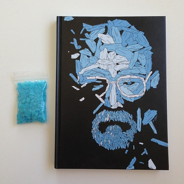 sirmitchell:  AMC made a Breaking Bad art book to give out to the cast and crew and they sent me a copy along with a bag of meth from the prop department!