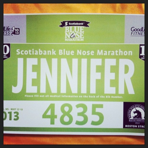 Bluenose bib and tshirt acquired. It's happening tomorrow and no backing out. Now to load up on carbs.