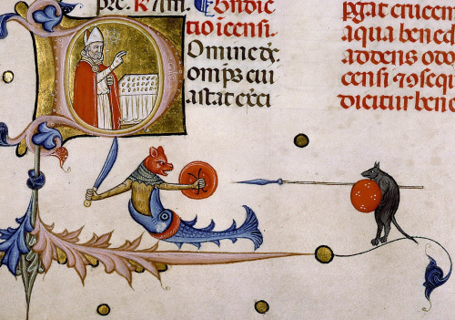 discardingimages:   fishcat vs. spear rat  Pontifical of Guillaume Durand, Avignon, before 1390. Paris, Bibliothèque Sainte-Geneviève, ms. 143, fol. 161v