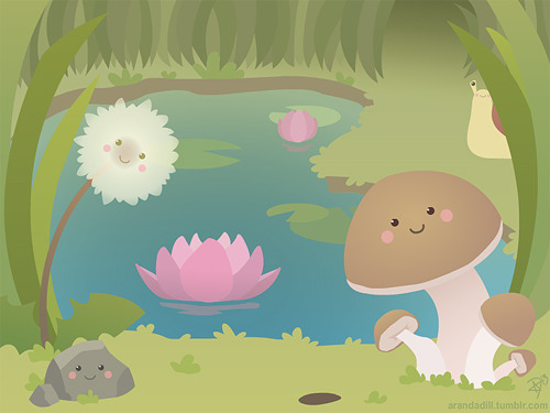 arandadill:  Pond Friends by ~ArandaDillIllustration 3 Final! It's interactive! See if you can find all 10 interactive objects~ Click the image and have fun! :D  Cute :)