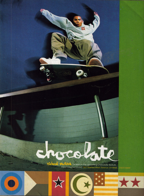 Richard Mulder for Chocolate Skateboards. 1998.