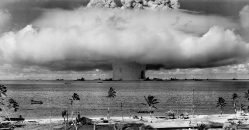 blua:  In 1946, the United States conducted a series of nuclear weapon tests at Bikini Atoll in what's known as Operation Crossroads. A total of two bombs were detonated to test the effects nuclear blasts had on naval warships. The second, named Baker, was the world's first nuke to be detonated underwater. Due to the unique properties of underwater explosions, the Baker test produced a number of unique photographs that the world had never seen before.