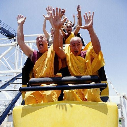 9gag:  Buddhist Monks riding a roller coaster.  Peace and Fun go hand in hand.