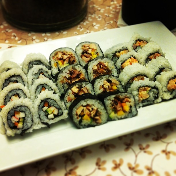 Not bad for a first attempt  at #homemade #sushi #yum