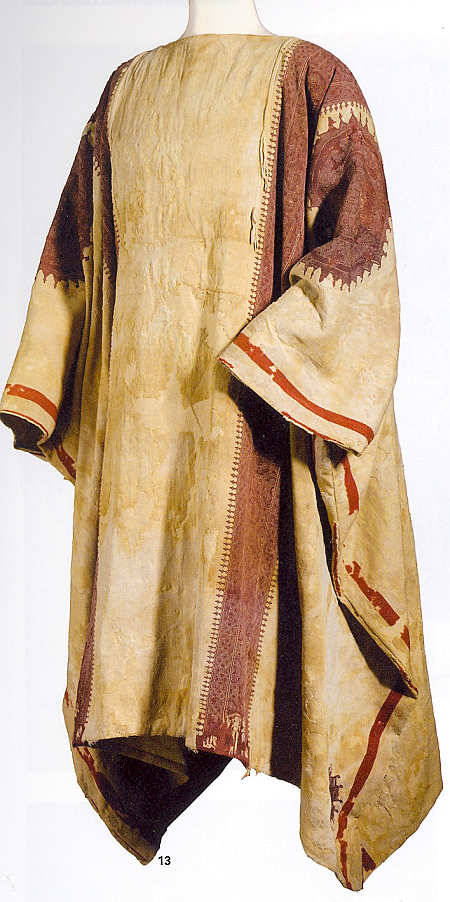 "76945-costume-since-antiquity:  Egyptian Coptic Tunic-  this style is known since the Ancient Egyptian times,it is constucted of a rectangular piece of fabric that is twice the height of the wearer, sewn on the sides, and leaving two openings, one on each side for the arms, albeit,decoration and   fabric in the  Coptic style was not known then- Coptic tunics ""often have stylized humans or animals and geometric designs, such as octagons or interlacing near their hem or running their entire length."" These are the ways in which these kinds of decorated bands and areas were arrayed on Coptic textiles. Note the pattern that s made up of a single fabric on the loom that has the shape of the cross, with the height of the garment also done twice as long as the tunic, the it is folded over at the assumed shoulder line and sewn at the sides of the cross to shape the sleeves and sides of the tunic, leaving openings for the arms and hem.  Source"
