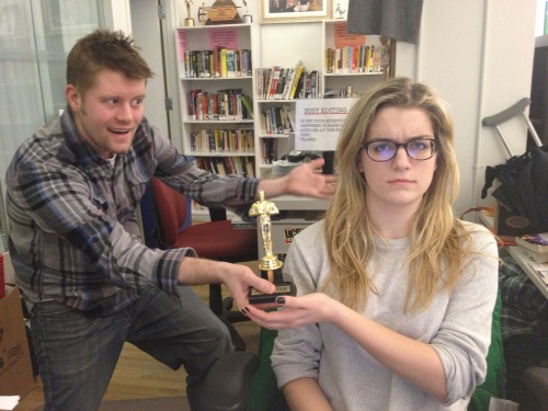 "carolinedesk:  Caroline Cotter wins the Bozie, the offical award given by Adam Bozarth for work in the field of Bozarth or Bozarth related actions or Bozarth approved actions. The last 3 recipients of the award were all Adam Bozarth so this is a big win for Caroline! I asked Caroline what she did to deserve the award and she said ""Why are you still taking these pictures of me? Please… just… stop."" So shy, so humble."