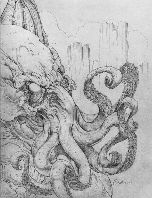 (via H.P. Lovecraft original drawings by John Cebollero | Creep Machine)