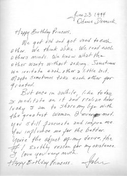 "bugwork:  Johnny Cash's letter to June Carter  ""June 23 1994Odense, Denmark.Happy Birthday Princess,We get old and get used to each other. We think alike. We read each others minds. We know what the other wants without asking. Sometimes we irritate each other a little bit. Maybe sometimes take each other for granted. But once in awhile, like today, I meditate on it and realize how lucky I am to share my life with the greatest woman I ever met. You still fascinate and inspire me. You influence me for the better. You're the object of my desire, the #1 Earthly reason for my existence. I love you very much.Happy Birthday Princess.John"""
