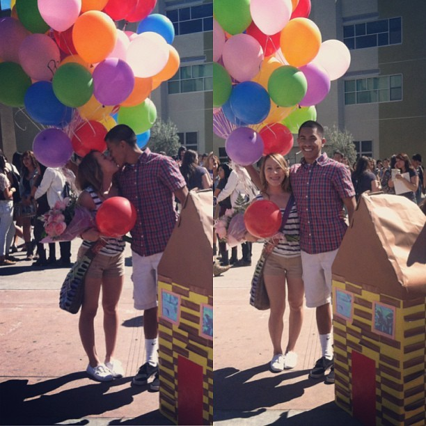 yeah-itsmelissa:  Got asked to PROM today! ☺💋❤💕🏠🎈🎈🎈 #UP #thankyou #myboyfriend #socute #lovehim #ALOTofballoons #myfavorite #prom @_r3al
