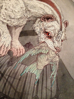 red-lipstick:  Caitlin Hackett - Time In Captivity (detail), 2013 Ballpoint Pens, Watercolors, Colored Pencils, Gold Acrylics, Conte Crayons on Hot Press Watercolor Paper