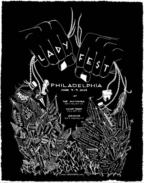 totallyvexed:  ladyfestphilly:  Tiff Cheng (Ladyfest Organizer / Batty guitarist and vocalist) totally killed it on this poster. Look for them up around town soon.  I made this, do you like?? LADYFEST TIX GO ON SALE MON. MAY 6 at 12NOON, GET EM HERE  This flyer is amazing.