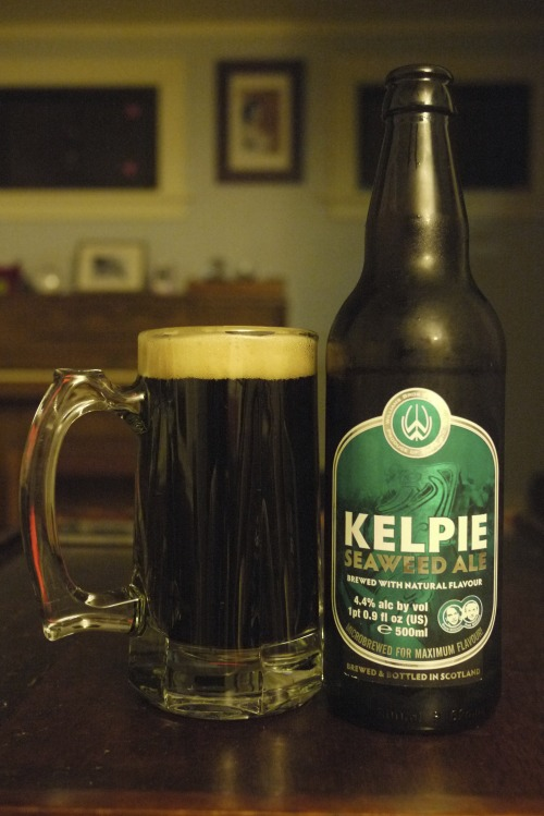DAY FIVE Kelpie Seaweed Ale : Williams Brothers Brewing, Scotland : 4.4% ABV Color me a bit surprised.  I was expecting some bizarre or at least pronounced flavors here, but what I got was a pretty inoffensive light stout with a tiny hint of saltiness, some vague chocolate maltiness and some bubbly carbonation.  Not great, but not bad.  Just kind of there. Text on the bottle:   Prior to the 1850s many Scottish coastal alehouses brewed their own ales using local malted barley grown on fields fertilised with seaweed.  We have recreated the unique flavor of this traditional ale with the inclusion of fresh seaweed, Bladder Rack, which is taken fresh from the water of the Argyll coast and mashed it in with teh malted and roasted barley
