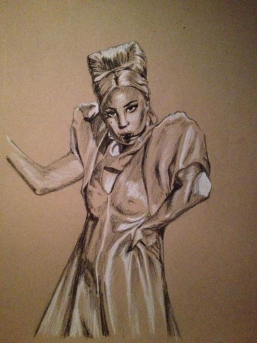 A Born This Way drawing I did, charcoal on tanned paper @jchoskie