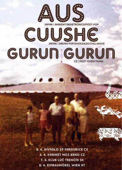 In April, our dear friends Aus and Cuushe will be doing a mini-tour with the lovely Gurun Gurun lads! I wish we could go but work beckons on the other side of the world then…if you have a chance I can't recommend these guys highly enough. And what a poster! Wow :)