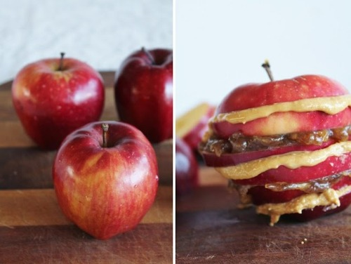 "We know a good idea when we see one—this bread free ""Apple Sandwich"" is stuffed with Date Caramel and Almond Butter."