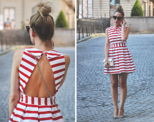 lookbookdotnu: Stripes red and white (by Priscila My Showroom)