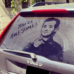 9gag:  Whoever drew this picture of Bill Murray on a Volvo's rear window…