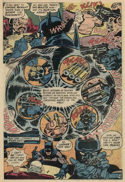 highway62:  Important page from DETECTIVE COMICS #416 by Frank Robbins. Why is it important? Because comics. You could try to translate this to prose or cinema or cutscene or whatever, but it would only be an approximation of the power that comics gives us to dissect time and poke around it and choose what's important (out of what the artists choose to present to us, the viewer.) Everything matters on this page.