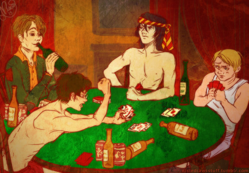nisiedrawsstuff:  The Marauders play strip poker. (thanks to kate of fortylinestare for the idea.)