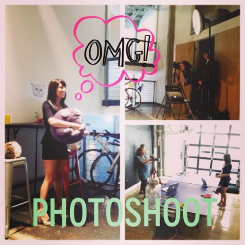 Our founder Deena working a photoshoot with her favorite @squishables at HQ!