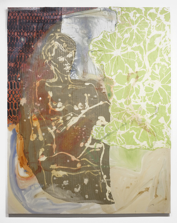 "Lauren Luloff, Francesca & Geranium, 2013 Oil, bleached bedsheets and fabric on muslin. 74"" x 58 Currently on view at Cooper Cole Gallery, Toronto, until May 25."