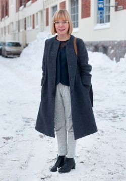"hel-looks:  Milla, 29 ""My coat is from Cos, the rest is from my own brand Month of Sundays. My style is carefree, spontaneous and comfortable. I like monochromatic clothes which emphasize the material, the cut and the details. My mother's androgynous style in the 80s inspires me."" 1 December 2012, Pikku Satamakatu"