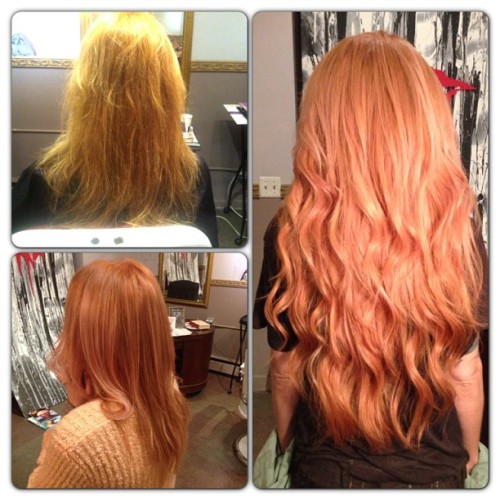 "freemindfreebody:  redhel:  We call this one Apricot Dream. Colour removal & correction, custom colour-matched 22"" extensions. Colour is a light copper gold with pastel pink gloss topcoat. No filter. #hairbyfrances  Amazing color!"
