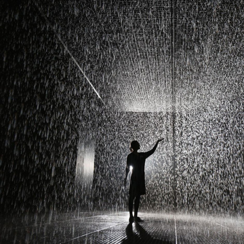 "nycartscene:  recently opened:""Rain Room"" Random InternationalMoMA, W54th St., NYC (bt 5th & 6th Ave)Random International's immersive environment is presented in the lot directly adjacent to The Museum of Modern Art. A field of falling water that pauses wherever a human body is detected, Rain Room offers visitors the experience of controlling the rain. Known for their distinctive approach to contemporary digital practice, Random International's experimental projects come alive through audience interaction—and Rain Room is their largest and most ambitious to date. Rain Room is open daily during regular Museum hours. Note: Admittance to the queue will end once it reaches capacity, prior to Museum closing.""In order for visitors to enjoy the sensory experience of Rain Room, capacity is limited to 10 people at a time. Entry is on a first-come, first-served basis and wait times are expected to be significant. Entry is not guaranteed. Please note that the queue for Rain Room is outside, so plan your visit accordingly.""   Holy shit"