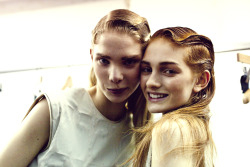 Backstage at Hexa by Kuho Paris Fashion Week Hair by Shon at Julian Watson.