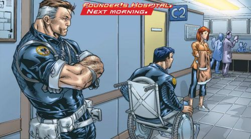 Founder's Hospital.  Next Morning.  Nick Fury and Tony Stark, in Iron Man vol. 3 #67 by Robin Laws and Michael Ryan.  June 2003.