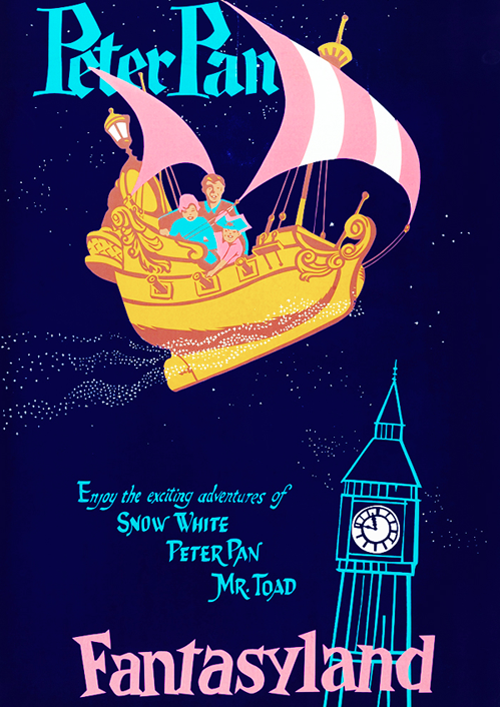 Disneyland advertisement for their park ride, Peter Pan's Flight c. 1960s