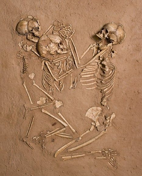 This grave is that of a mother and her two children whom were buried together. It's unclear how they died; there were no signs of trauma on their skeletons. They were discovered 5,000 years after burial, still holding hands.