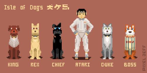 pixel pixelart pixelartist pixeljeff retro 8bit 8bitart 8bitartist 16bit 16bitartist taiwanartist isle of dogs wes anderson animation
