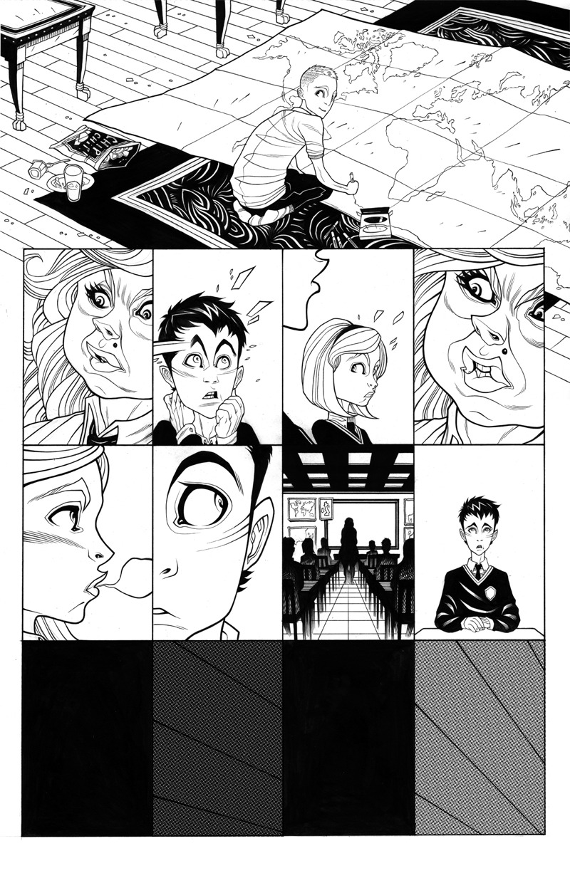 A black and white page from ZERO #004 by Tradd Moore.   ZERO #001 comes out in nine days.
