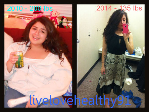 """livelovehealthy91submitted: Four years apart, down 70 lbs. I did struggle with an eating disorder initially but now I have kept the weight off by eating healthy and exercising :) I strongly believe in self-love at every single size. I am 5'2""""! I exercise and eat healthy most of the time but I treat myself too :) It's all about balance.    —- SUBMIT your ownBefore and After weight-loss photos HERE."""