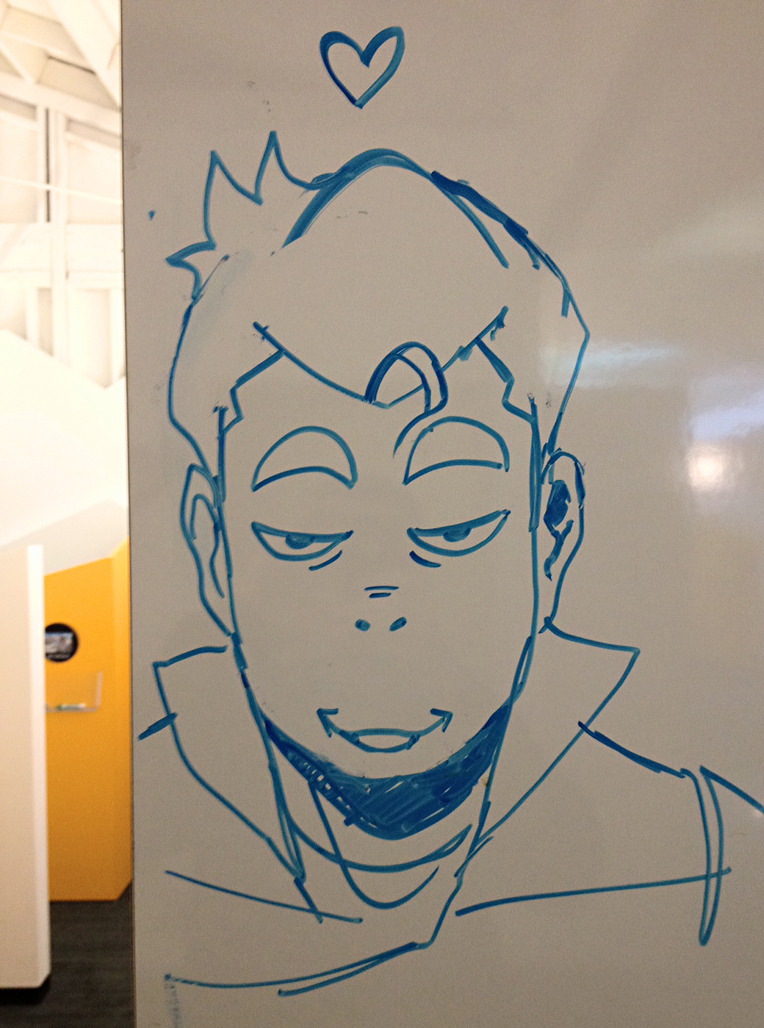 This is one of my favorite Bolin drawings from the cabinets in the Korra production area, by Eugene Lee, in a style reminiscent of Koji Morimoto. Apparently Eugene drew it here so Bolin would stare into Colin's office.