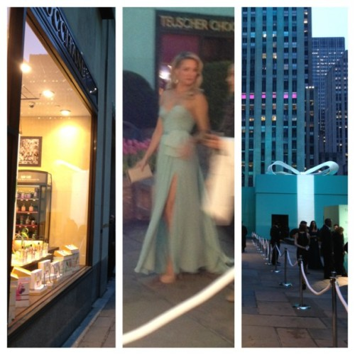 Kate Hudson sashays by my storefront window on her way to the Tiffany event.  #hollywood #glamour #picstitch