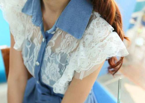 fashion-n-beauty:   Lace Embellished Denim Dress
