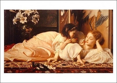 Cherries (Mother and Child), by Frederic Lord Leighton  Shouldn't Mothers Day look like this?